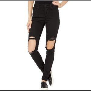 LEVIS 721 high rise skinny distressed black jeans